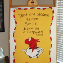 Additional painting with Dr. Seuss quote