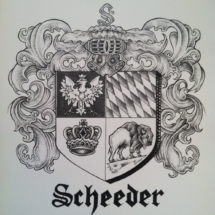 Coat of Arms created for wedding 9x12 pen and ink